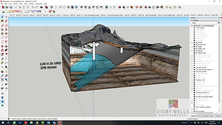 Figure 3. 3D model of a defunct coal mine flooding using Sketchup