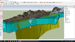 Figure 4. 3D model showing a cone of dewatering at a platinum mine using Sketchup