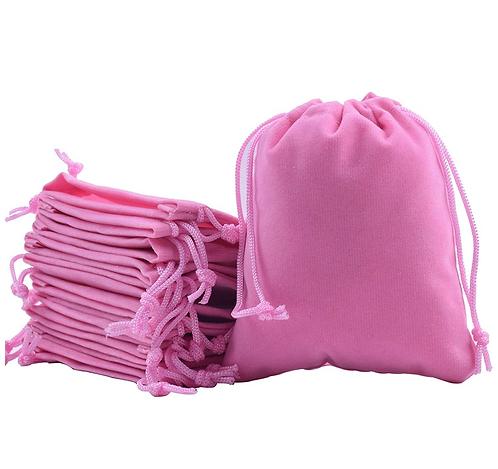Pink Velvet Drawstring Bags