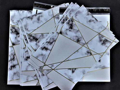 10x13 Gold Marble Pattern Polymailers