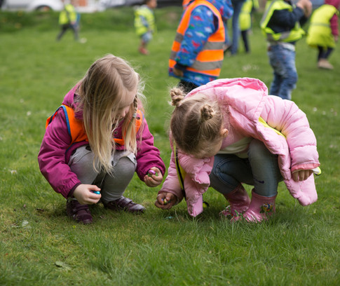 Easter egg hunting on the green
