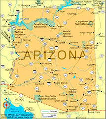 Map of Arizona.  Surrounded by CA, NV, UT, CO, NM, CO,