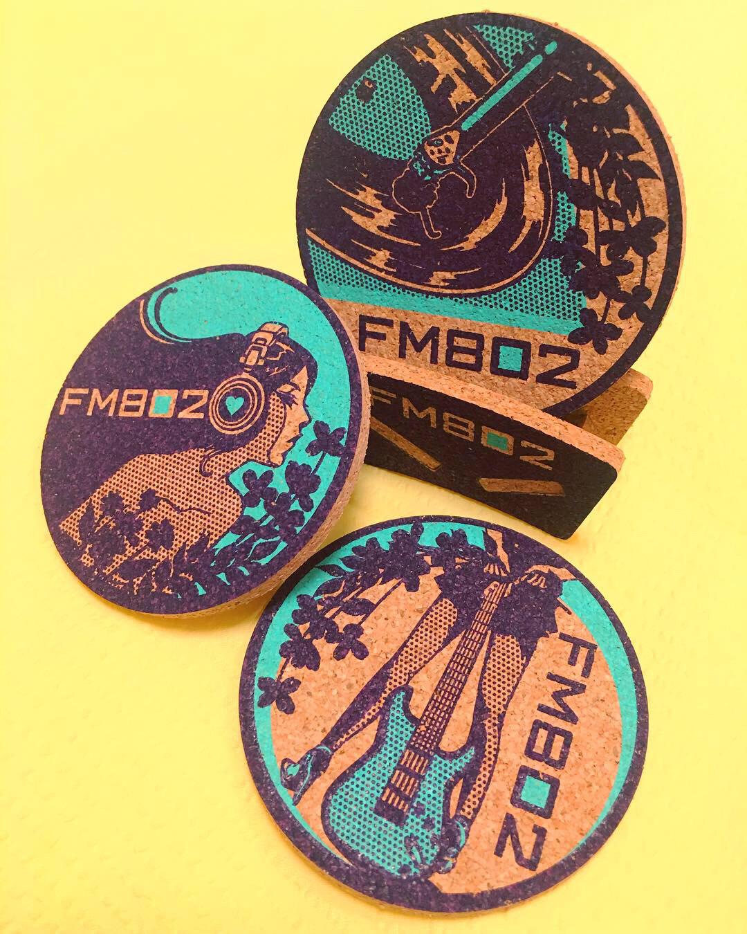 FM802 Cork Coasters