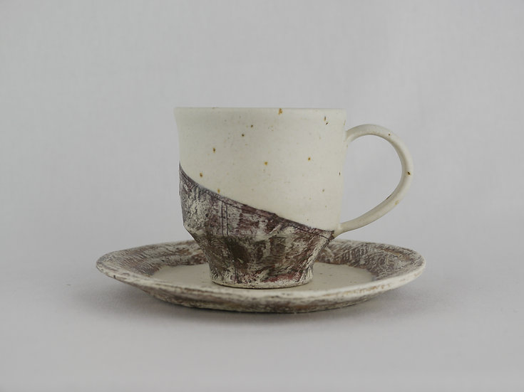 泥彩 Cup & Saucer 白 Muddy White Colored