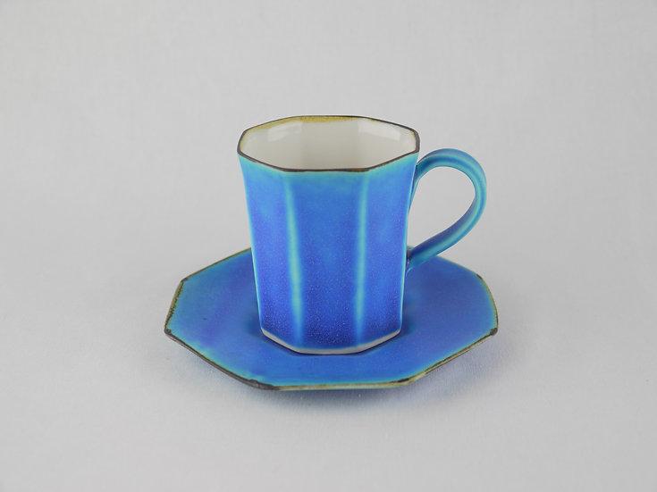 <完売>面取 Cup & Saucer ラマンチャブルー(磁器)Blue Ceramics