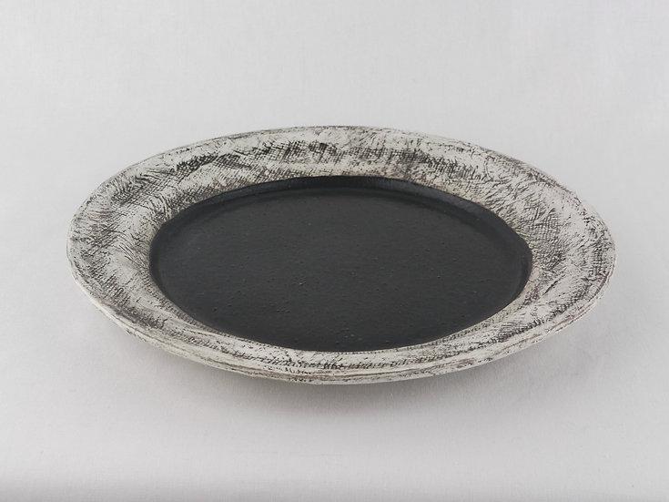 <完売>泥彩黒プレート_大 Black Muddy Plate Large