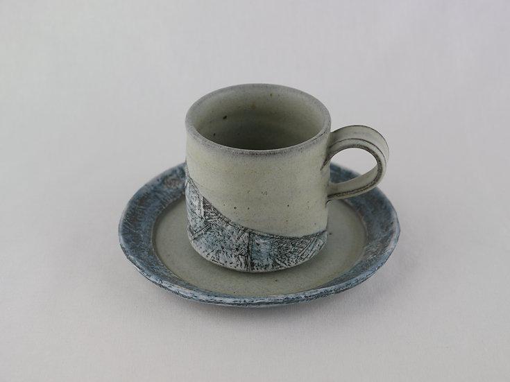 泥彩 Cup & Saucer グレー Muddy Grey Colored