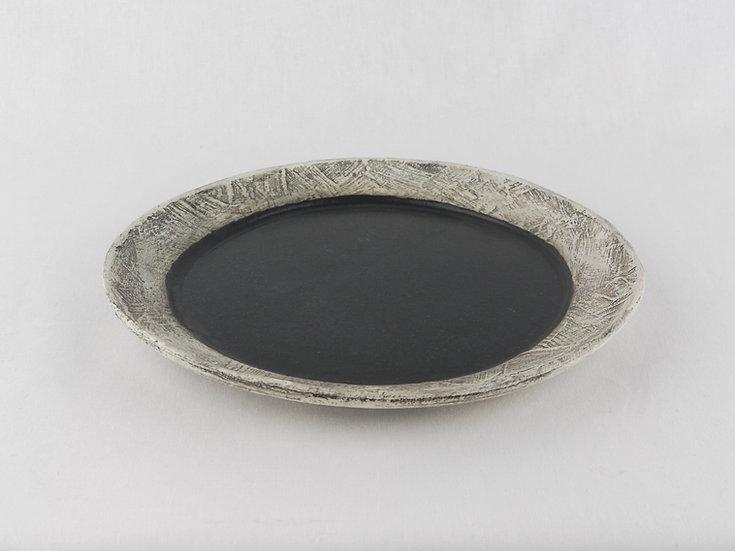 泥彩黒プレート_小 Black Muddy Plate Small