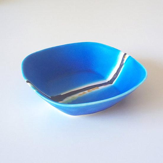 08 ブルー四角鉢(中)