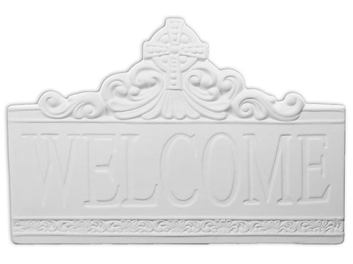 Welcome Cross Tile Plaque