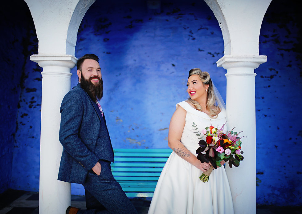Blue Bug Photography - Bride and groom, wedding day photo, Portmeirion, North Wales Photographer