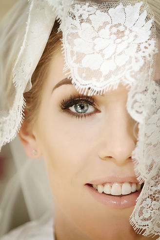 Bride's face from her wedding day in North Wales