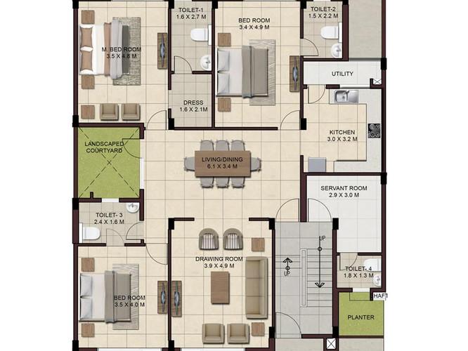 Wave-Floors-Ground-Floor-Plan-type2-3BHK