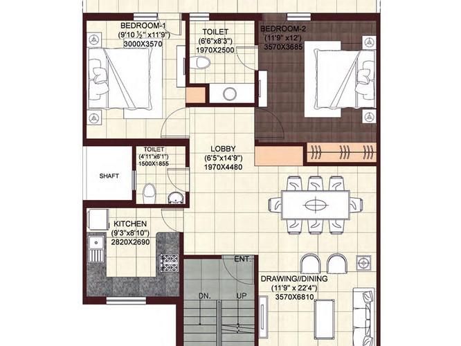 wave-floors-Second-Floor-Plan-2BHK-Study