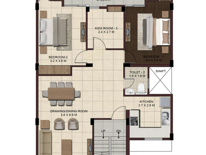 Wave-Floors-First-Floor-Plan-Type2-2BHK-
