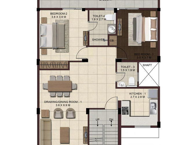 Wave-Floors-Second-Floor-Plan2-2BHK-Stud