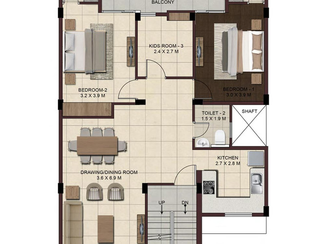 Wave-Floors-Ground-Floor-Plan-type2-2BHK