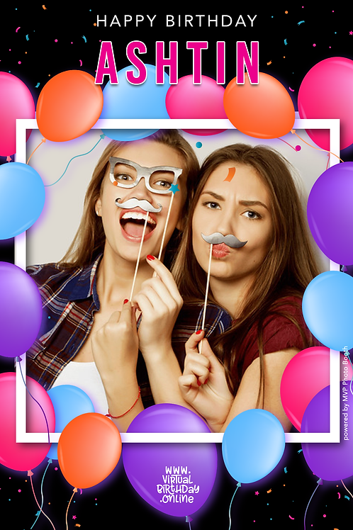 Balloon Frame - Pink, Purple, Orange & Blue
