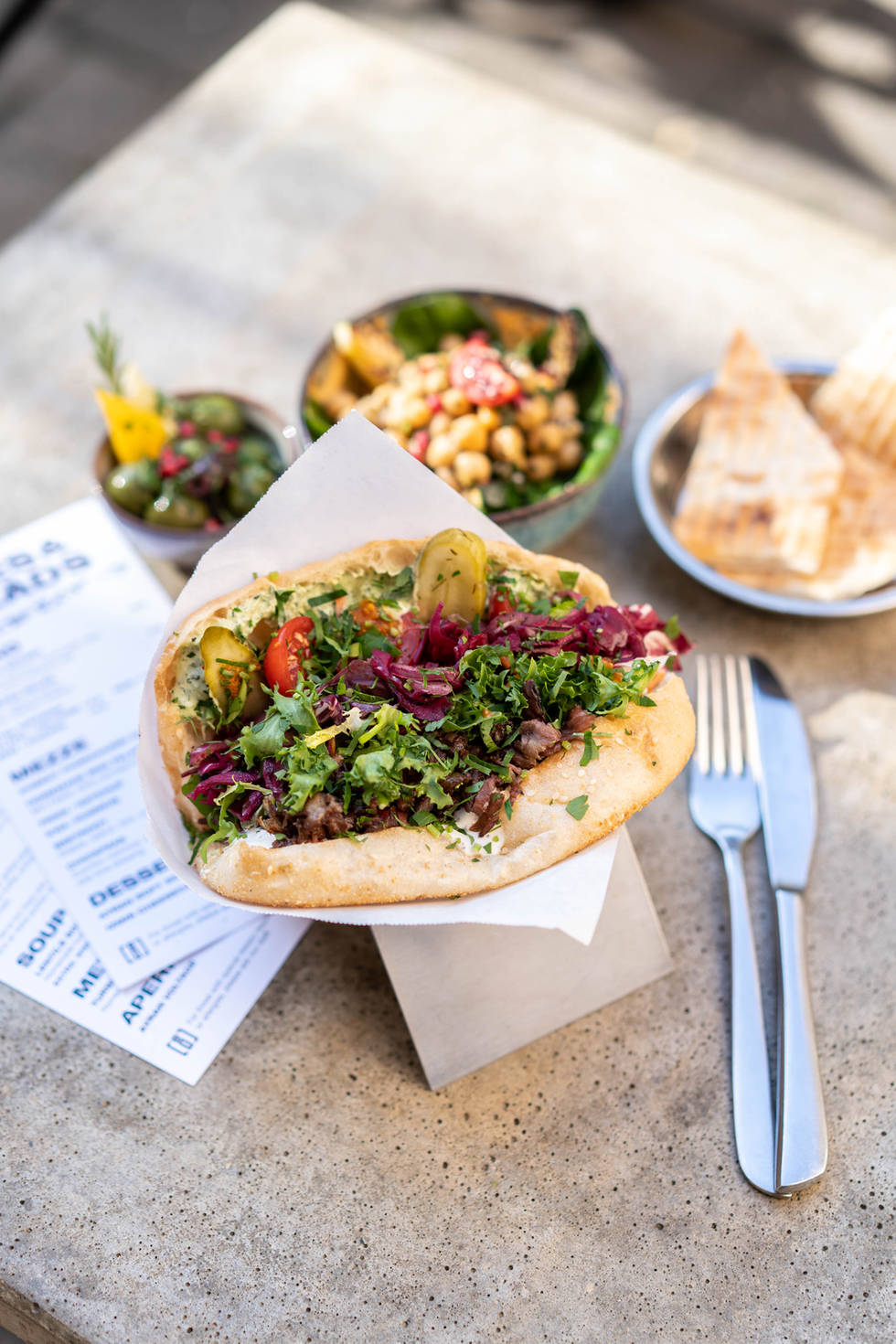 Fresh doner kebap with mezze on our terrace