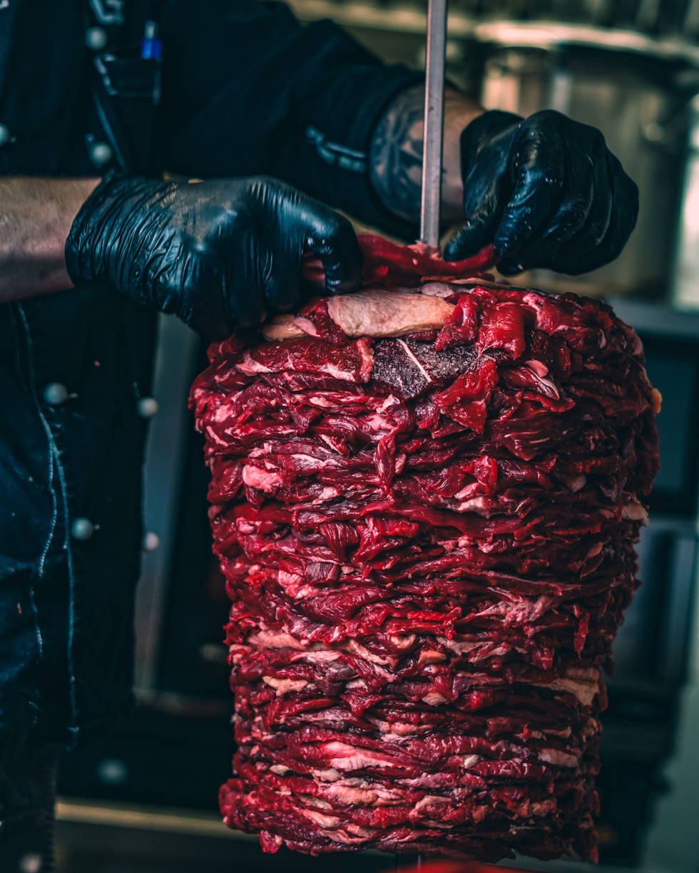 Fresh meat and our own Kebap Skews - maybe the freshest doner kebab in Berlin