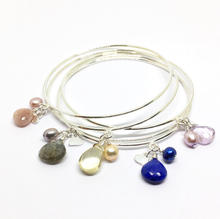 Sterling Silver Bangles with Gemstone & Pearl