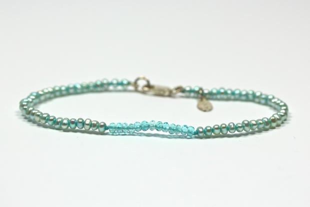 Apatite & Pearl Stacking Bracelet