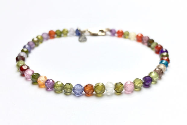 Hand Knotted Multicoloured bracelet in Cubic Zirconia