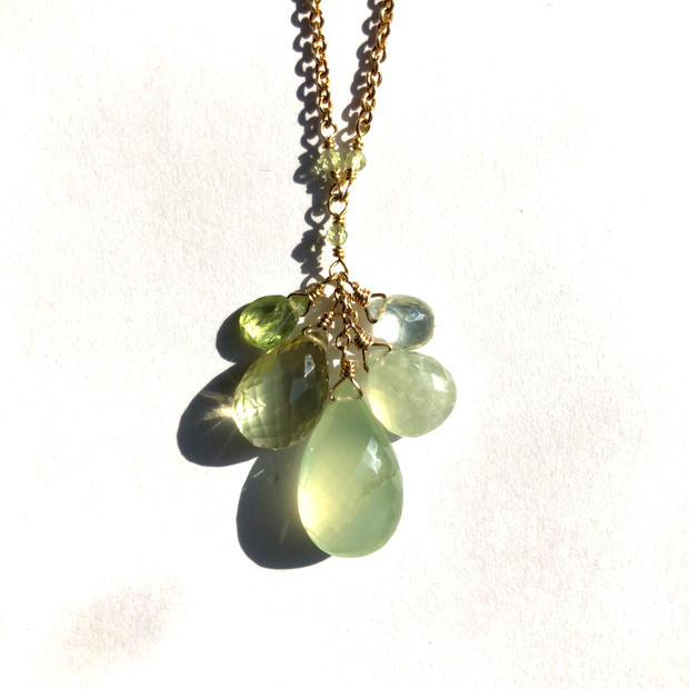 Green Gemstone Cluster Pendant