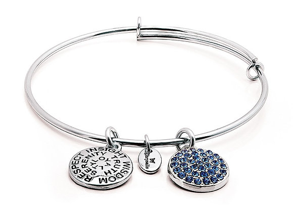 Sapphire Crystal Expandable Bangle-Silver