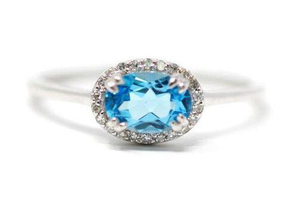 14K White Gold Swiss Blue Topaz Diamond Ring