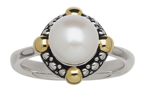 Honora White Button Pearl Ring