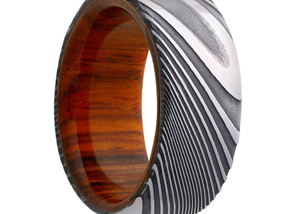 Twisted Damascus Steel Ring with a Wood Sleeve