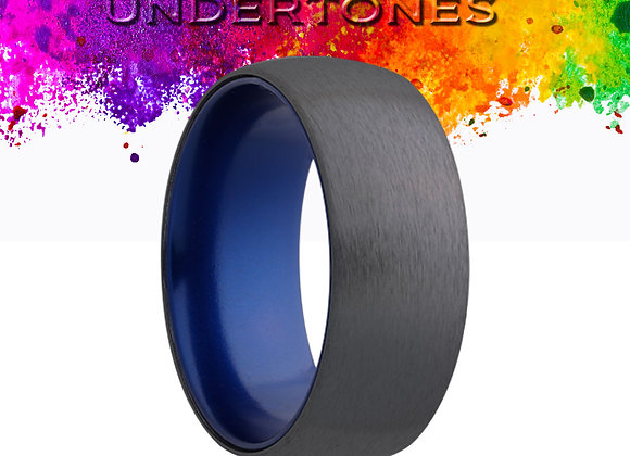 Dome Zirconium Band with Satin Finish Colored Sleeve