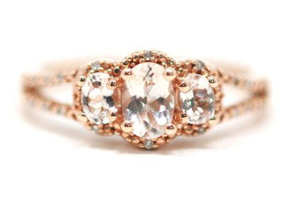 10K Rose Gold Morganite Diamond Ring