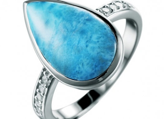 Sterling Silver Pear Larimar/ CZ Ring