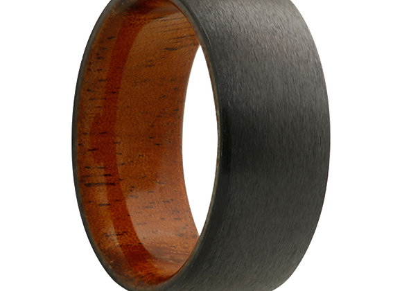 Zirconium Band with KOA Wood