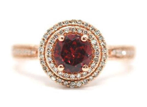 10K Rose Gold Double Halo Rhodolite Ring