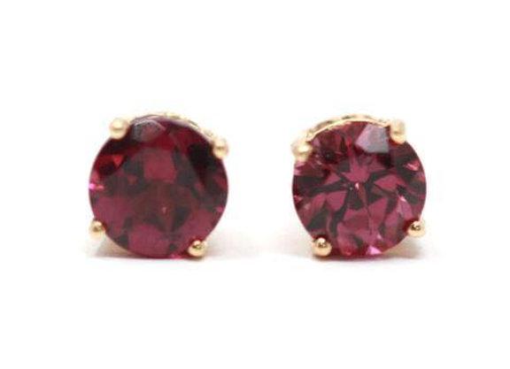 14k Rose Gold Rhodolite Garnet Stud Earrings