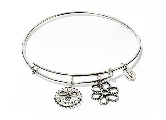 Sister Expandable Bangle-Silver