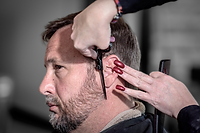 Hair and Beard trim performed by a licensed cosmetologist at Men's Den, Inc.
