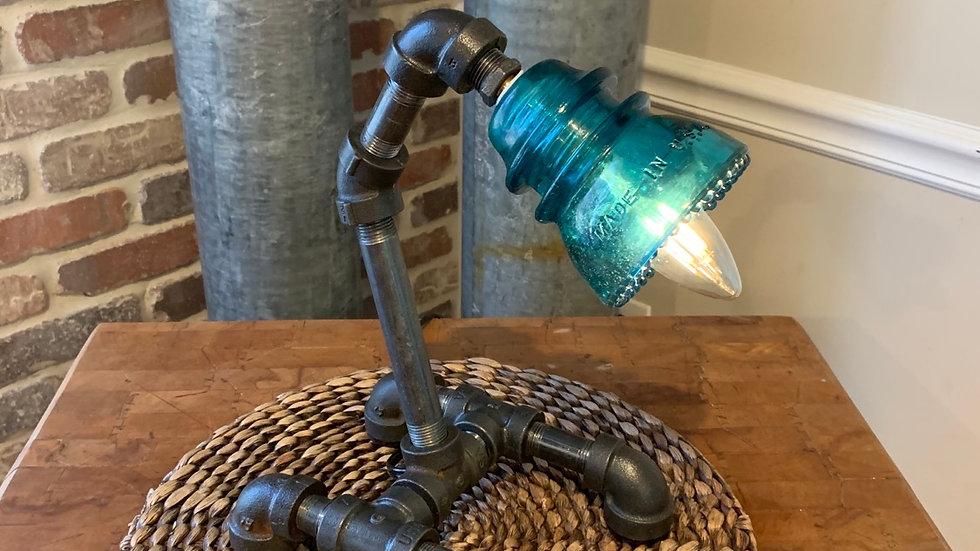 Custom made glass insulator desk light
