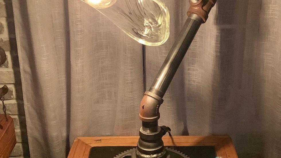 Large Hand blown glass gear light