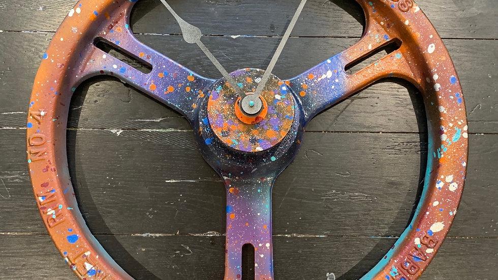 Custom made flywheel clock