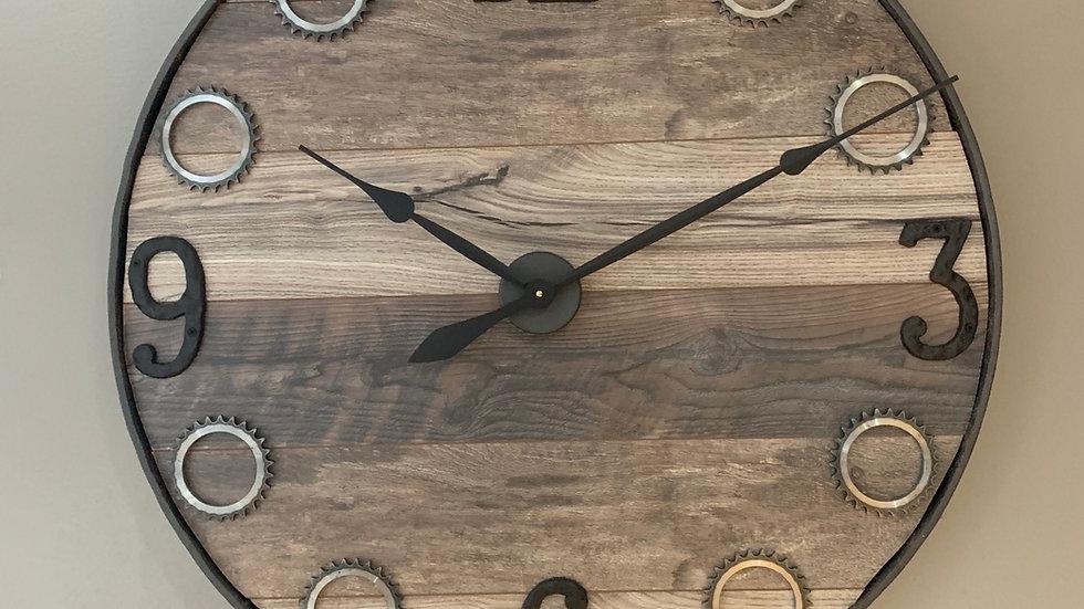 Custom made clock made from old wagon wheel and gears
