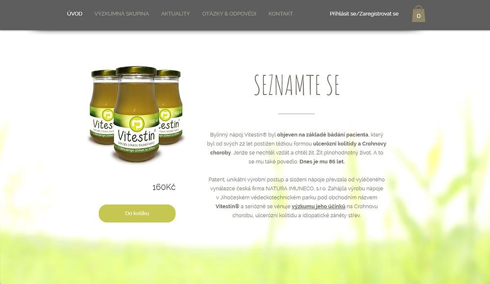 Webové stránka Vitestin