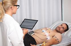 Man lying down for Rest ECG