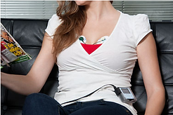 Woman comfortably wearing a Holter Monitor