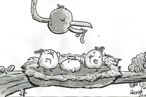 Birdy Breakfast - Ink Tober Artwork