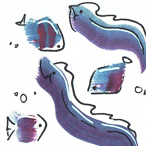 Purple Eel & Fish - Pocket Painting