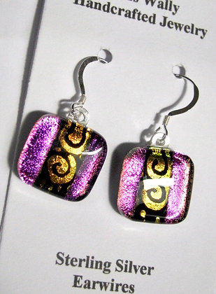 Pink and gold swirl earrings